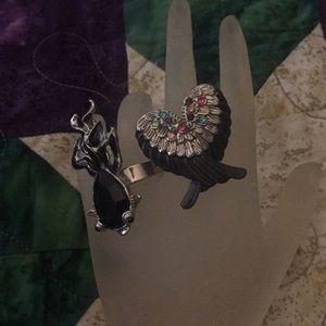 Pair of Rings Sz 7 1/4 Fish & Angel Wings